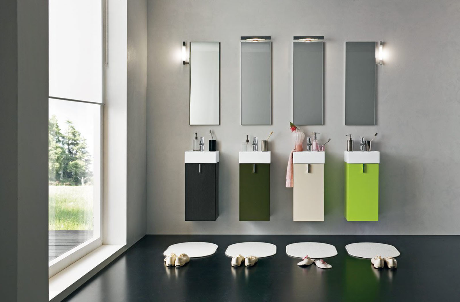 Inspiring Colorful Touches on Modern Bathroom Vanity Blended with Grey Wall