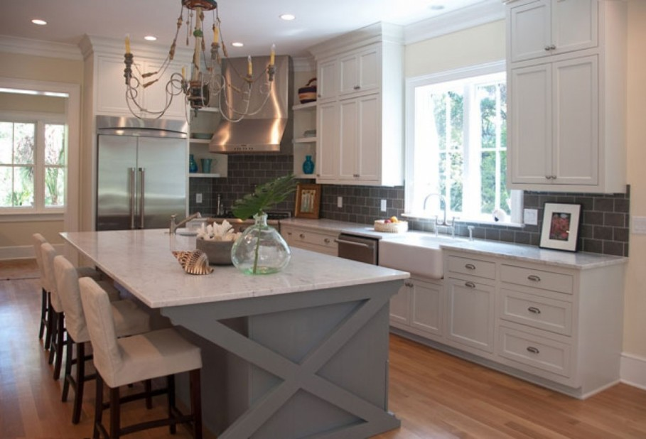 Inspiring DIY Kitchen Cabinets and Island in White and Grey Painting and Marble Countertop