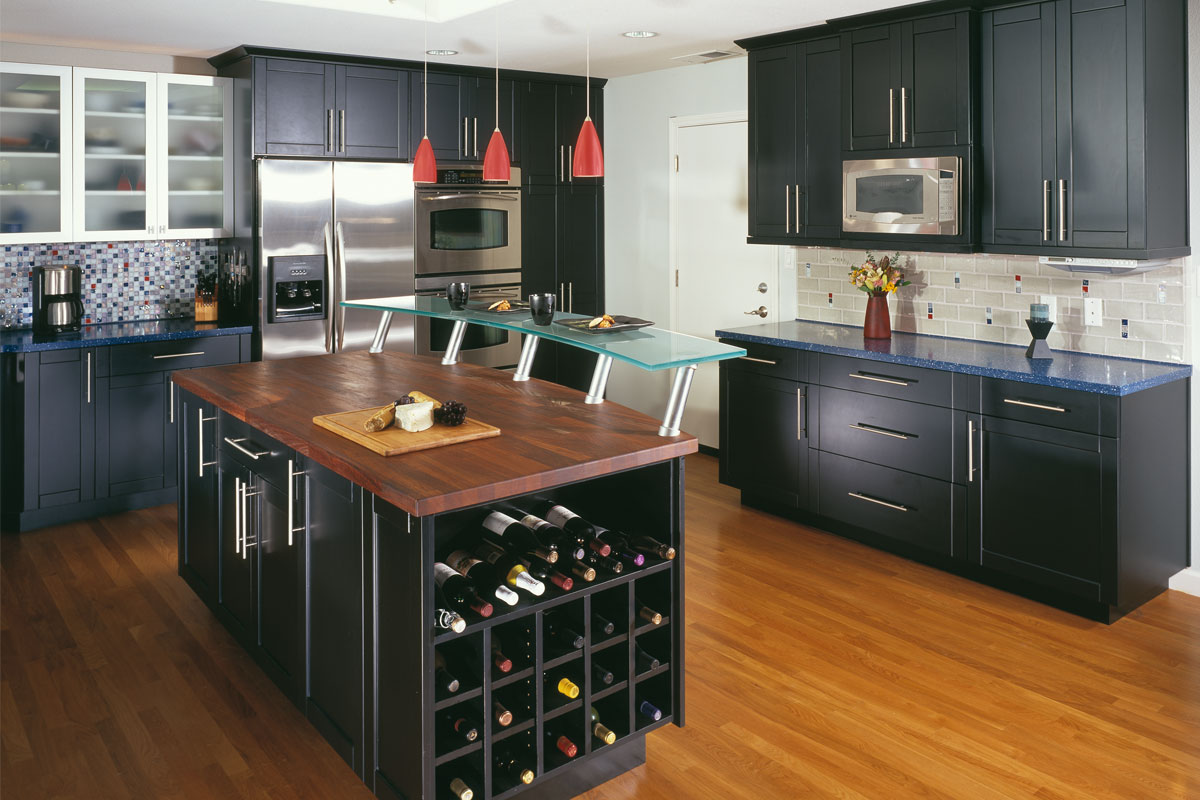 Inspiring Picture of Black Kitchen Cabinet with Granite Top and Tile Backsplashes