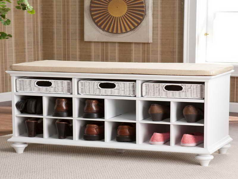 Inspiring White Bench With Shoe Storage And Shelving For Small Baskets