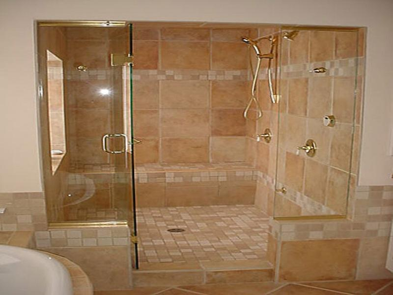 Install Brown Shower Tile Ideas for Wall and Flooring inside Wide Shower Area with Glass Door