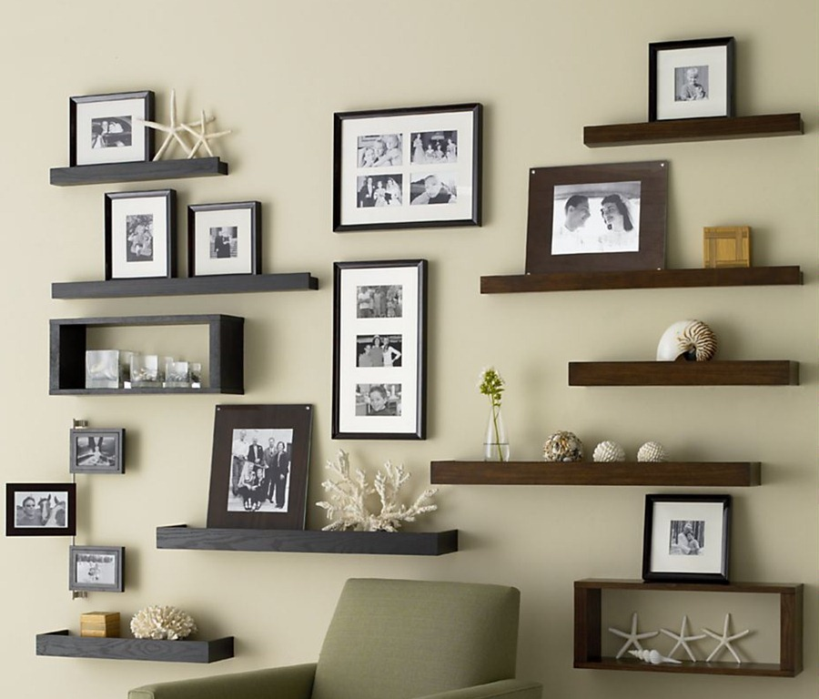 Install Wooden Shelves And Family Framed Photos As Brilliant Wall Decor  Ideas In Comfy Living Room