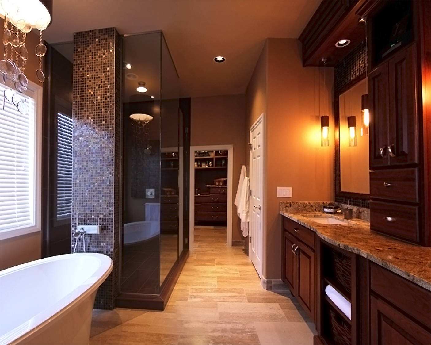 Interesting Addition of Decorative Tiled Wall and Pendant Lamp over Bathtub to Complete Remodeling