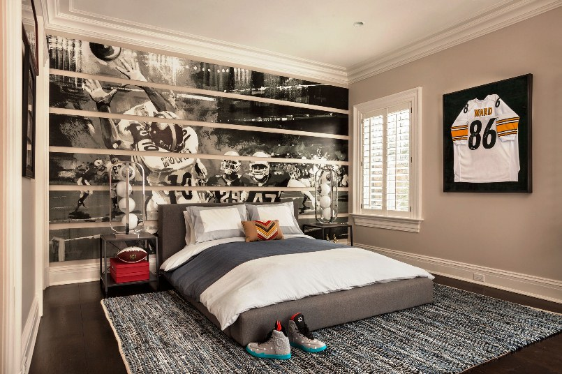 Charmant Interesting American Football Wall Decal Decorating Simple Boys Bedroom  Ideas With Grey Bed And Simple Side