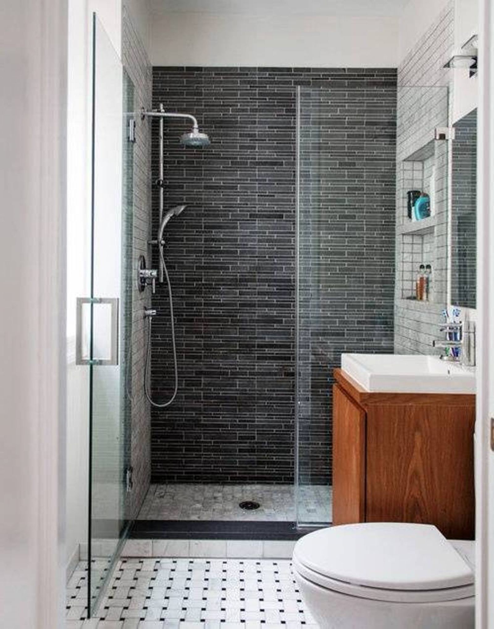 Interesting Black Shower Tiles For White Bathroom Remodel Furnished With  Wooden Vanity