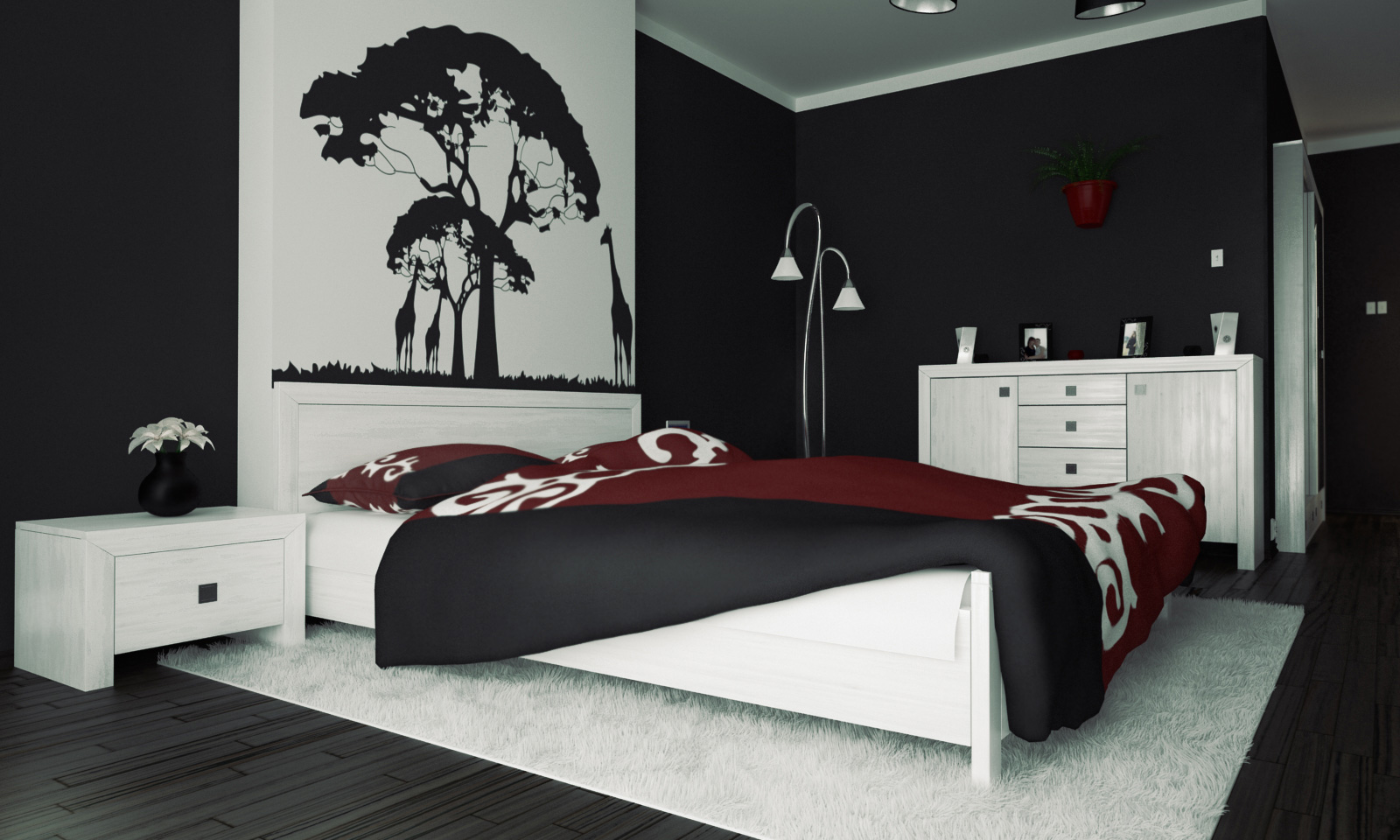 Bedroom Ideas Red Black And White Part - 26: Interesting Black And White Mural Above Headboard Completing Black And White  Bedroom Interior Concept