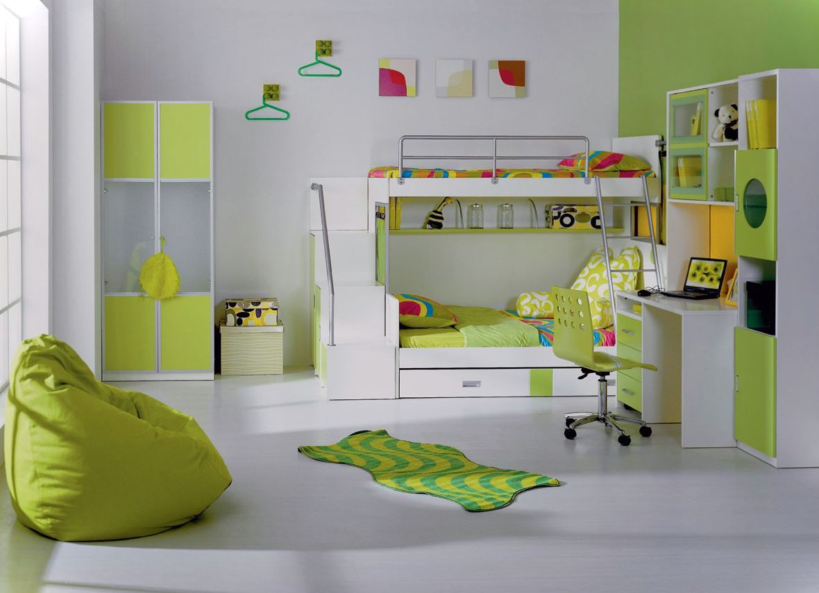 Gentil Interesting Coloring Scheme For Girl Bedroom Ideas In White And Green  Combination