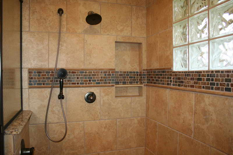 Interesting Dark Shower Faucet Completing Closed Shower Space with Brown Shower Tile Ideas