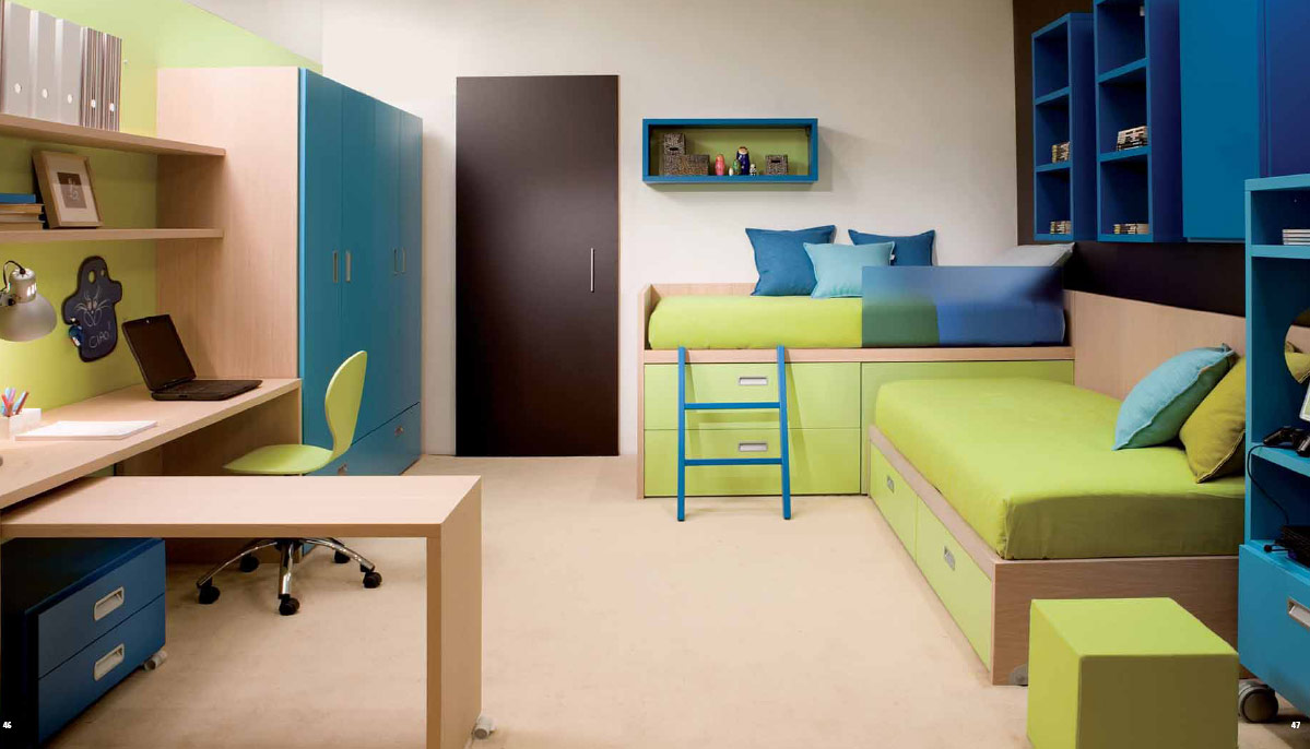 Interesting Green Accent for Kid Room Interior Ideas to Match with Wood and Blue Tones