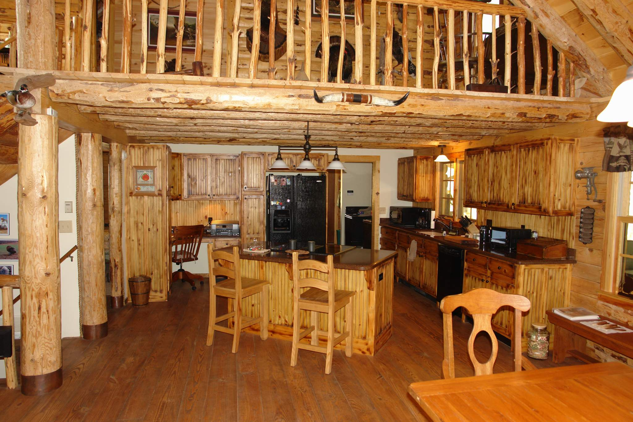 Interesting Kitchen With Office And Island Of Stunning Two Story Log Home