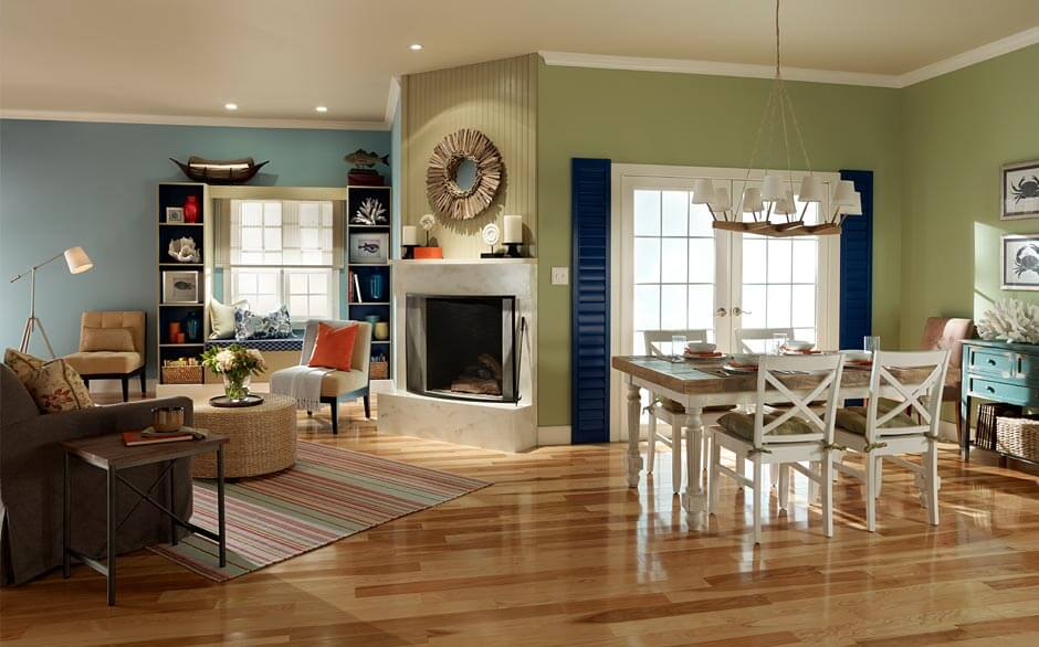 Interesting Living Room Colors For Open Floor Plan With Classic Wooden  Dining Table Set And Grey