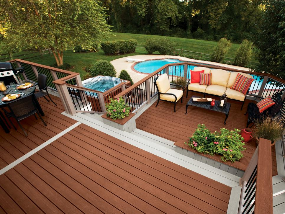 Interesting Two Tiers Wooden Deck Design for Outdoor Living and Dining Space