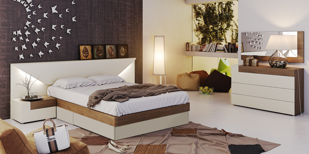 Interesting Wall Art inside Stylish Bedroom using Modern Bedroom Furniture with Wide Bed and Appealing Dresser