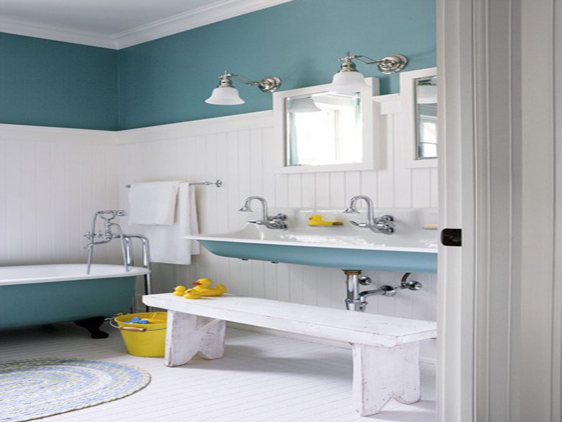Charmant Interesting Wall Paneling Painted In White Combined With Blue And White  Furnishing For Kids Bathroom
