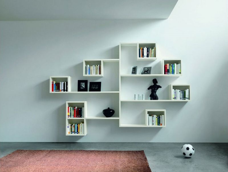 Interesting White Bookshelves as Brilliant Wall Decor Ideas for Light Grey Painted Wall