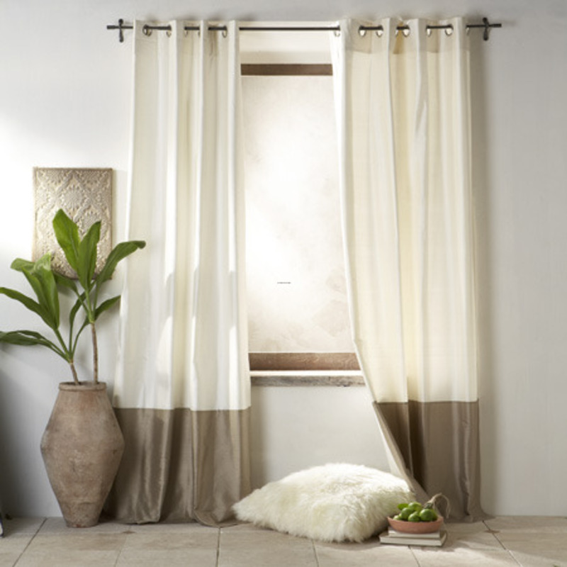 Interesting White and Grey Living Room Curtains for Simple Room with White Furry Cushion and Indoor Plant