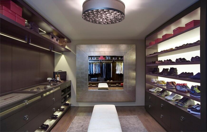 Keep Your Wardrobe Clean And Tidy Inside Modern Walk In Closet With Shoes  Shelves And White