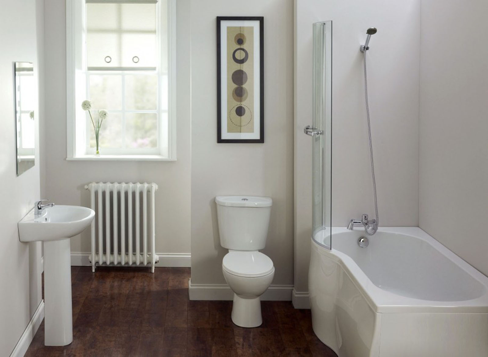 Keeping Privacy inside Your Small Bathroom with Sheer White Blind to Meet Grey Room Painting