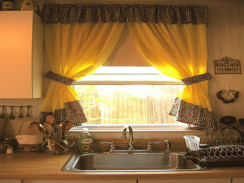 Kitchen with Single Window Completed with Accent Yellow Curtainn with Decorative Trims