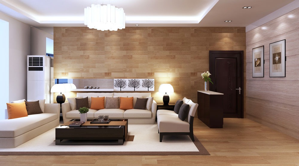 LED Lighting on White Ceiling Completing Wonderful Living Room Design with Cozy Sofa and Wide Coffee Table