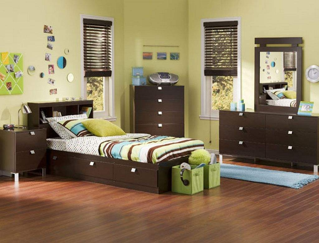 Laminate Oak Flooring under Wooden Bed Storage and Nightstands Completing Minimalist Boys Room Ideas