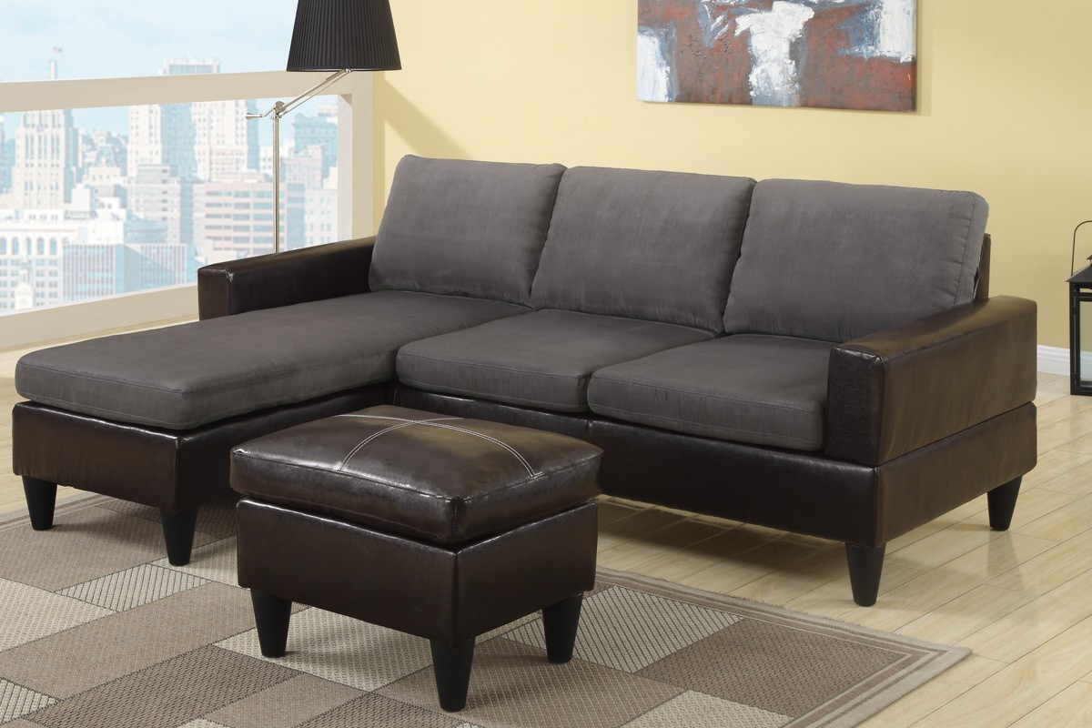 Leather Ottoman and Dark Small Sectional Sofa inside Cozy Living Room with Black Floor Lamp