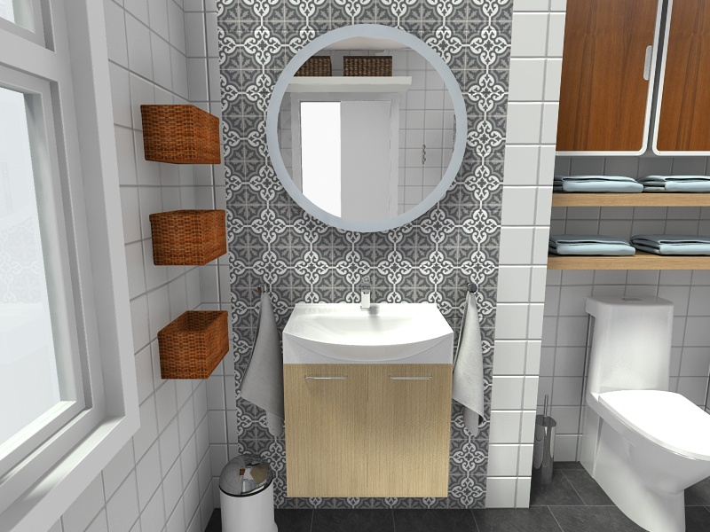 Merveilleux Light Wood Bathroom Vanity And Wall Shelves To Complete Small Bathroom  Storage Ideas
