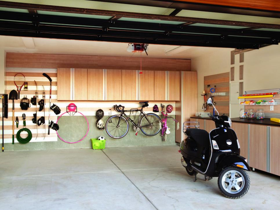 Light Wood Freestanding and Wall Garage Storage to Complete Garage Organization Ideas