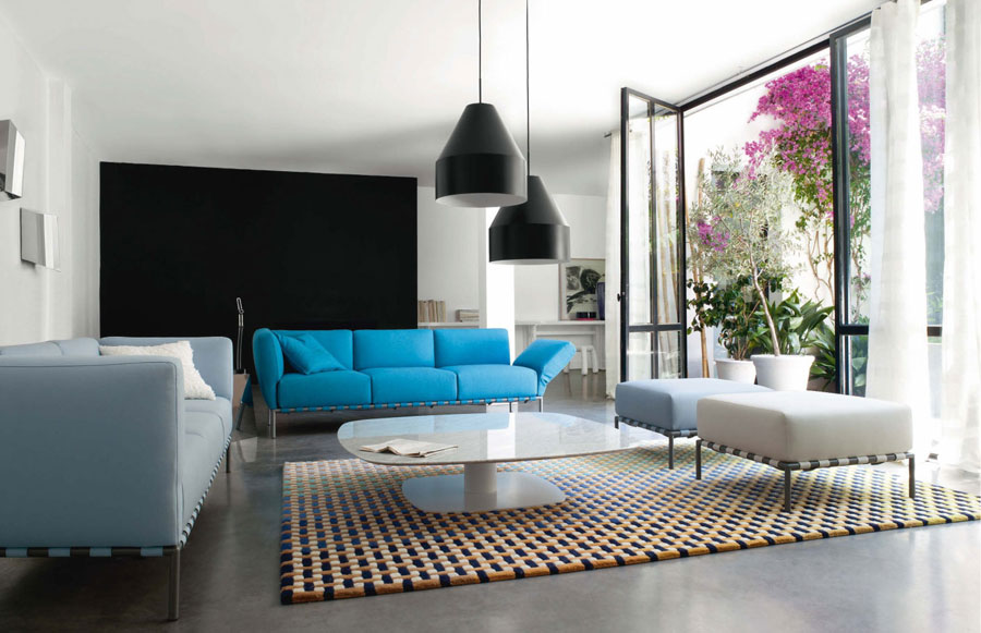 Attrayant Light And Dark Blue Three Seater Sofa Combined With Black Pendant Lamps And  Wall Painting For · Small White Living Room With Contemporary ...