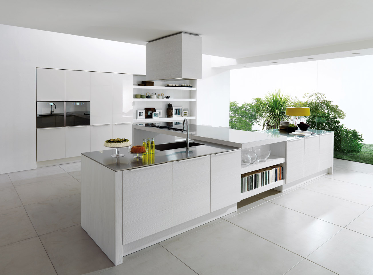 Lower Bookshelves in Modern White Kitchen Cabinets Completing Open Kitchen Area with Glossy Countertop