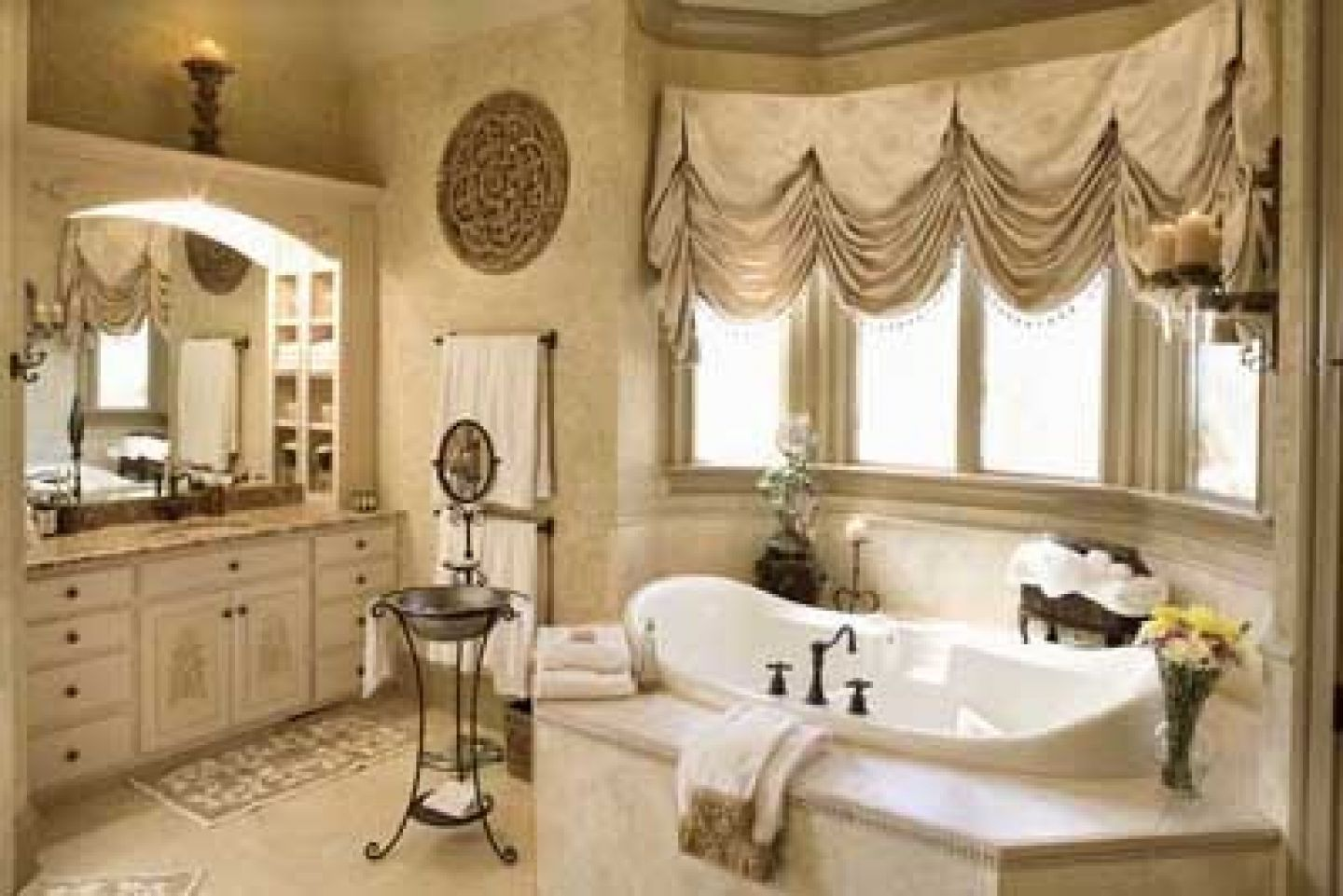 Luxury Bathroom with Well Treated Windows Featuring Curtain Valance with Elegant Color