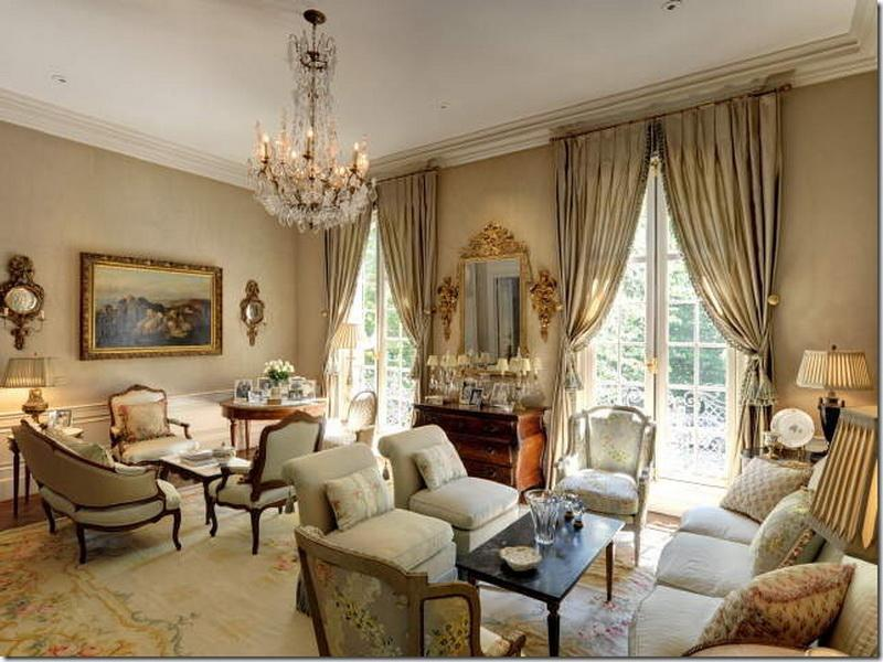 Luxury Living Room with French Style Glass Chandelier and Glossy Curtains