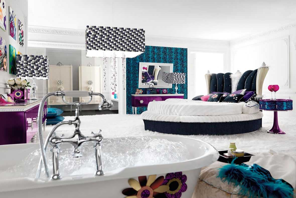 Luxury Teen Girl Bedroom Ideas with Special Rounded Bed and Pedestal Side Tables