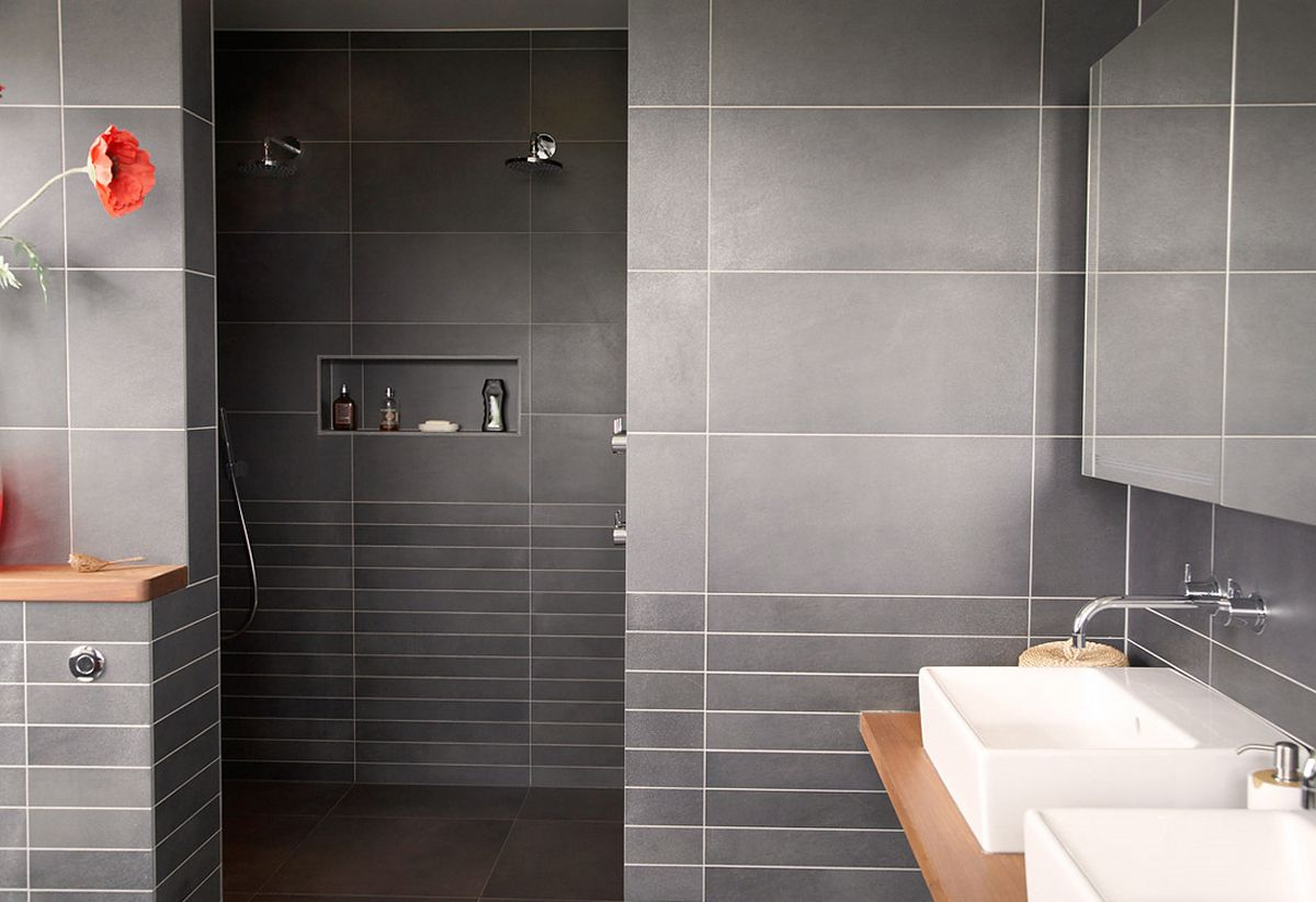 Attrayant Magnificent Grey Wall Tiling Of Small Bathroom Interior With White And Wood  Appeals. Well ...