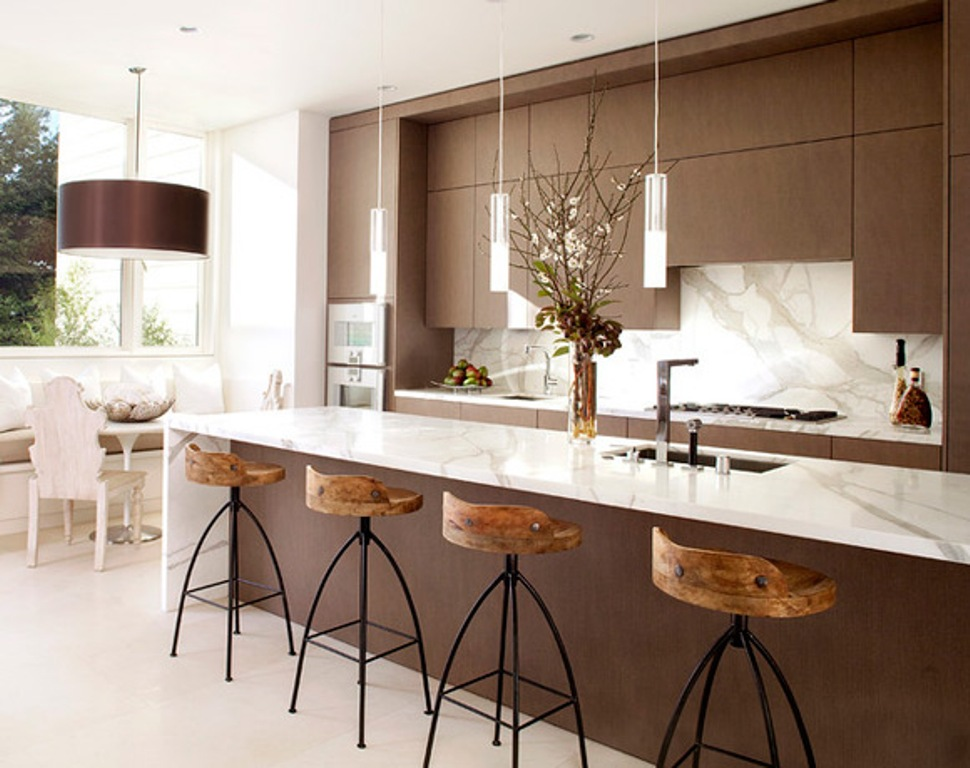Marble Top on Kitchen Island Table and Counter Used for Stylish Kitchen with Contemporary Stools
