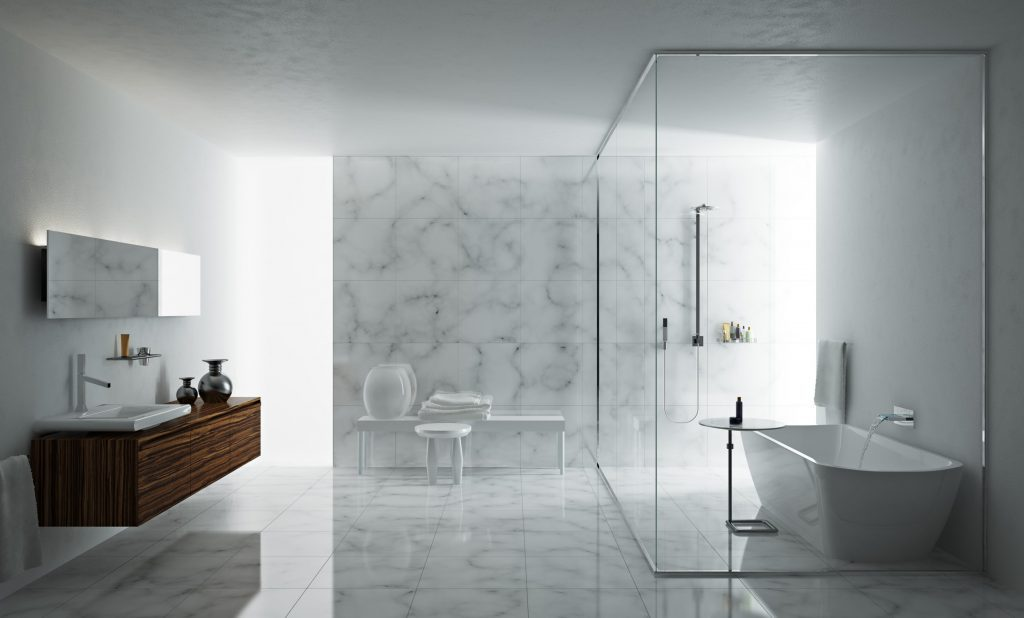 Charmant Minimalist Bathroom With Excellent Floor And Wall Tile Designs Featuring  Floating Vanity