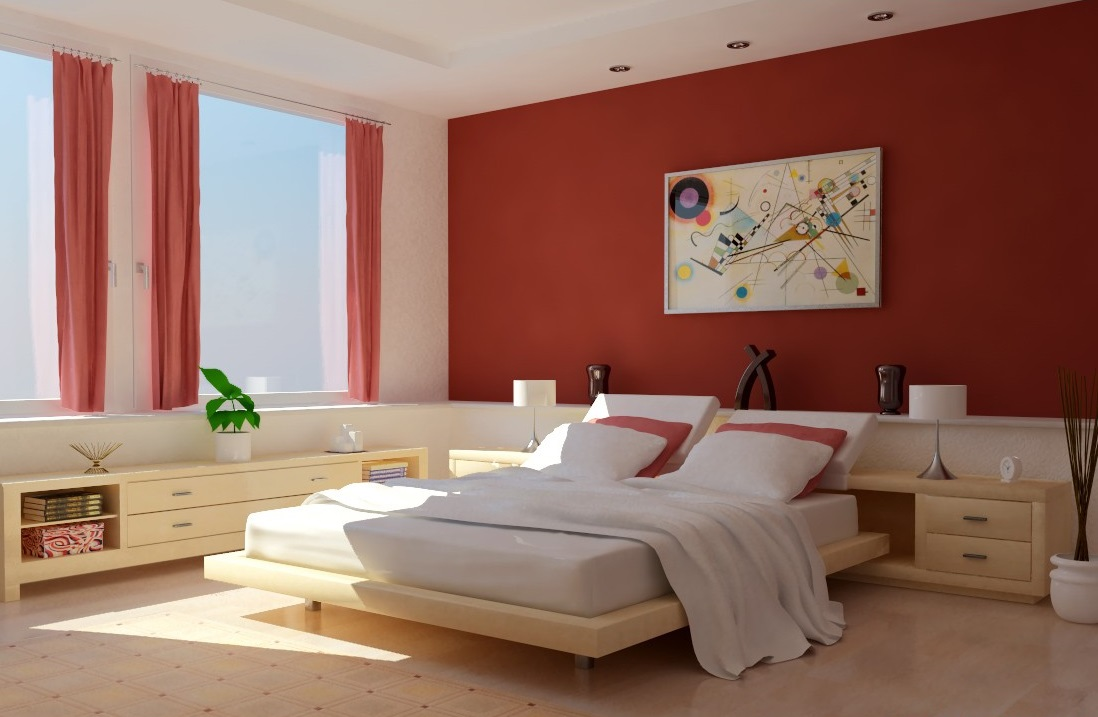 Minimalist Bedroom Paint Colors in Comfy Space with Platform Bed and White Bedding near Wooden Nightstands