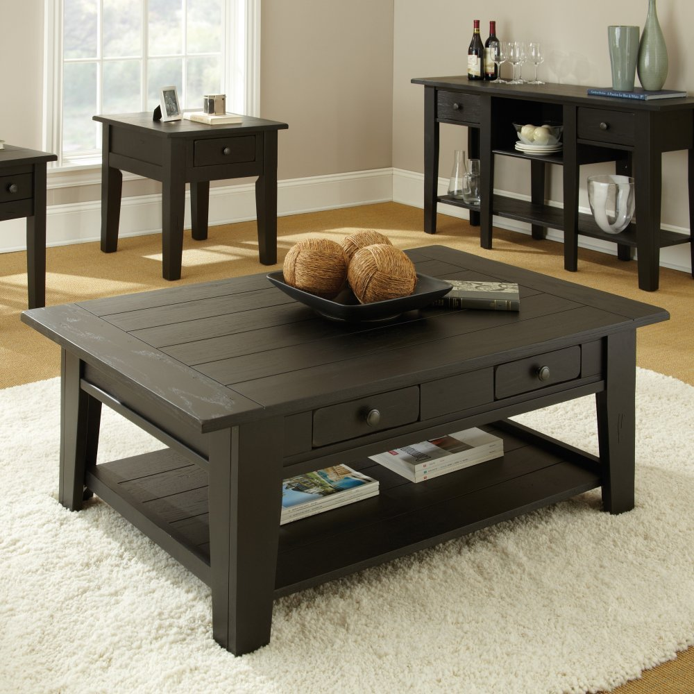 Minimalist Black Wooden Coffee Table With Storage And Lower Shelf For Old Fashioned Sitting Room