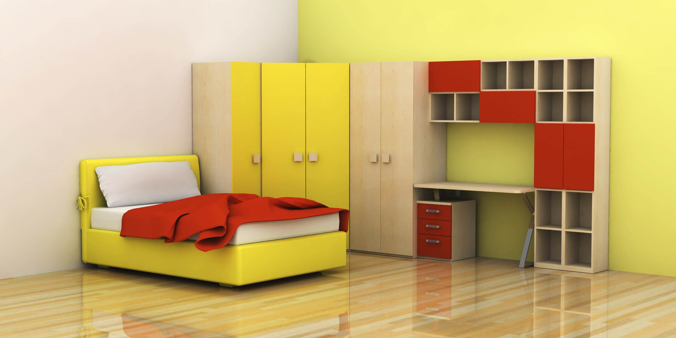Etonnant Minimalist Contemporary Kids Room With Contrast Red And Yellow Coloring  Scheme