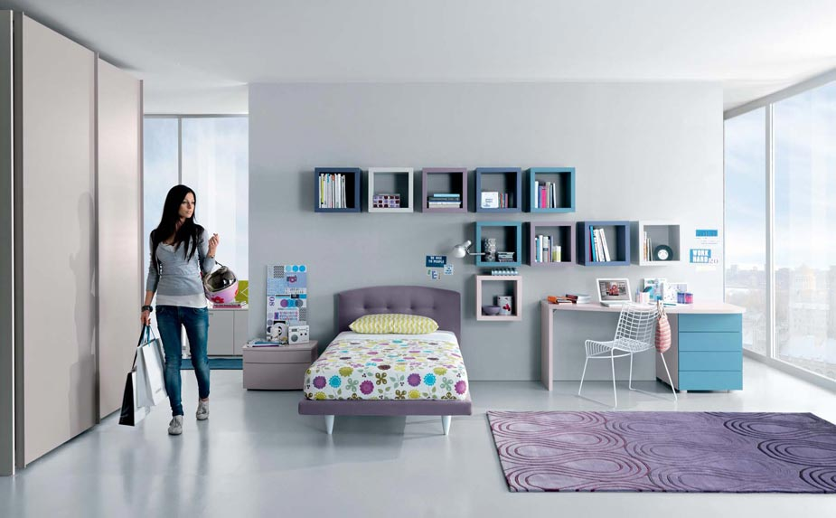 Minimalist Teen Girl Bedroom Ideas Interior with Stylish Bed and Wall Storages
