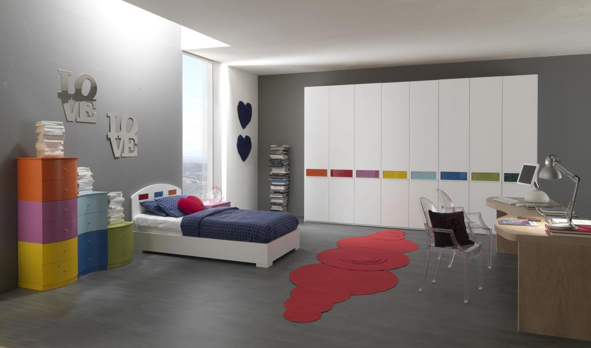 Minimalist Teen Girl Bedroom In White And Grey With Colorful Touches From  Storage