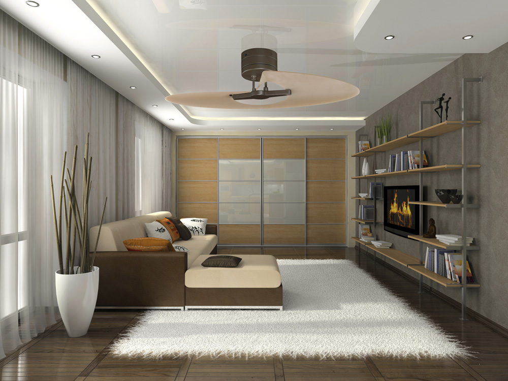 Modern Ceiling Fans Installed inside Small Living Room with Cream Sofa Chaise and Square Cushion
