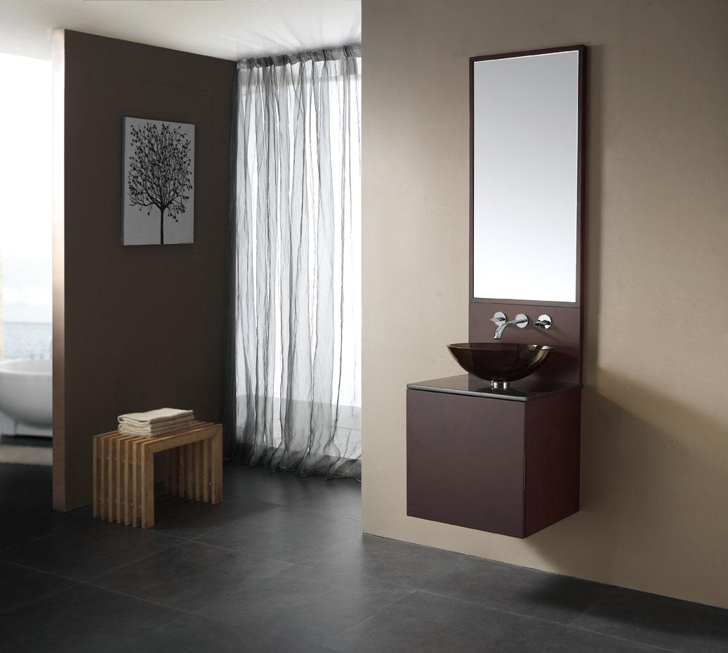 Modern Floating Small Bathroom Vanities And Dark Acrylic Sink Bowl For  Spacious Room With Concrete Flooring