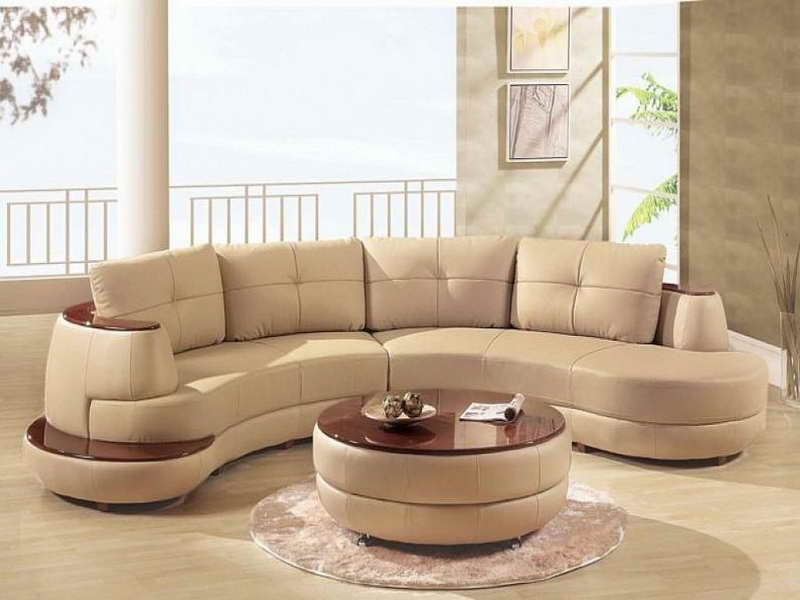 Modern Small Sectional Sofa and Round Table on Hardwood Flooring in Awesome Room