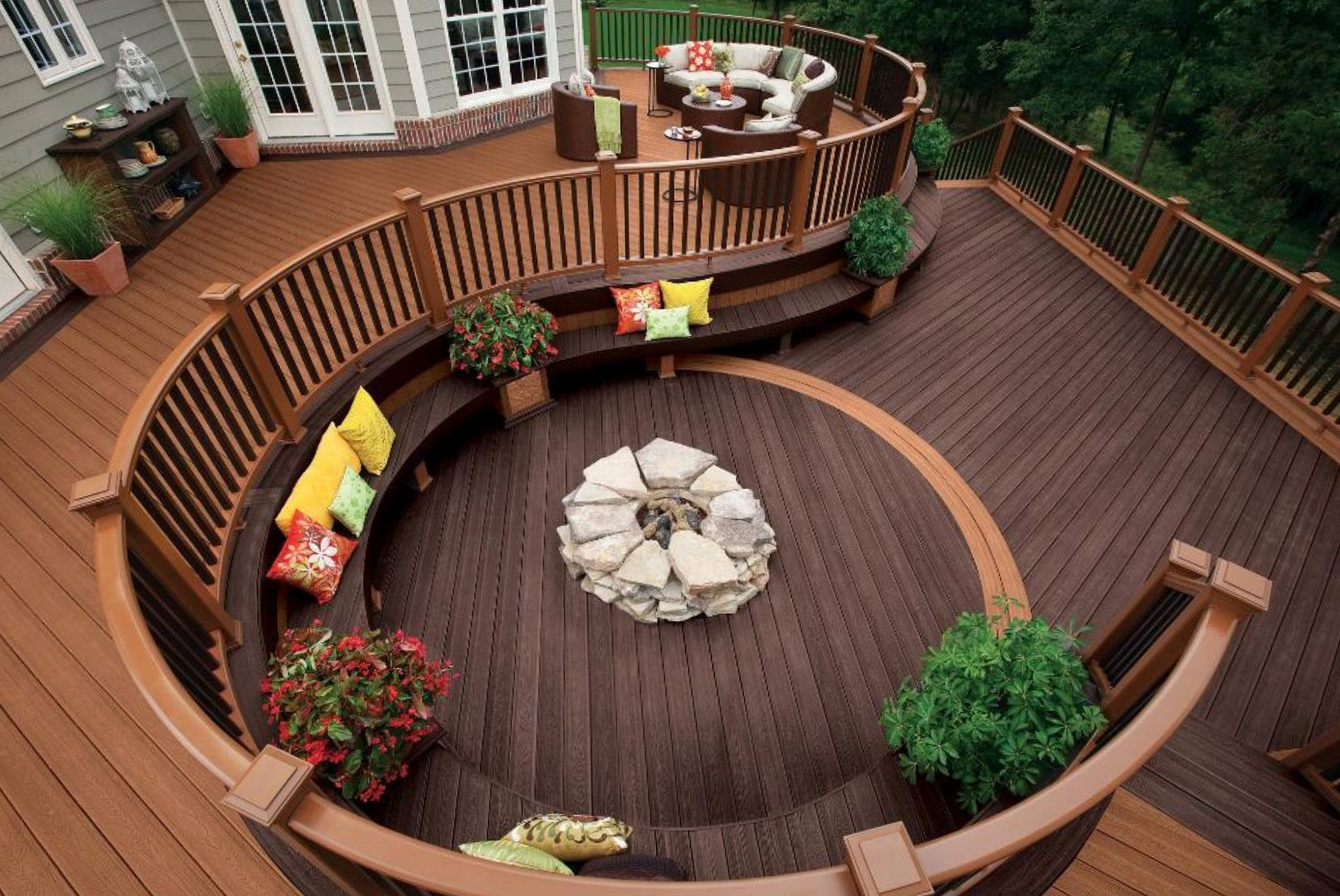 Multi Tiered Outdoor Patio with Wooden Deck Completed with Rustic Style Fire Pit Idea