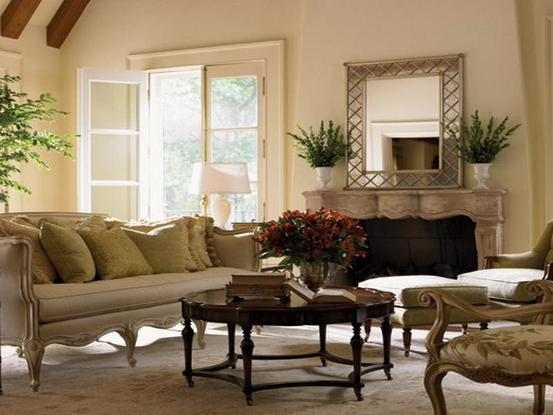 Natural French Decor with Flowers on the Coffee Table and Fireplace Mantel