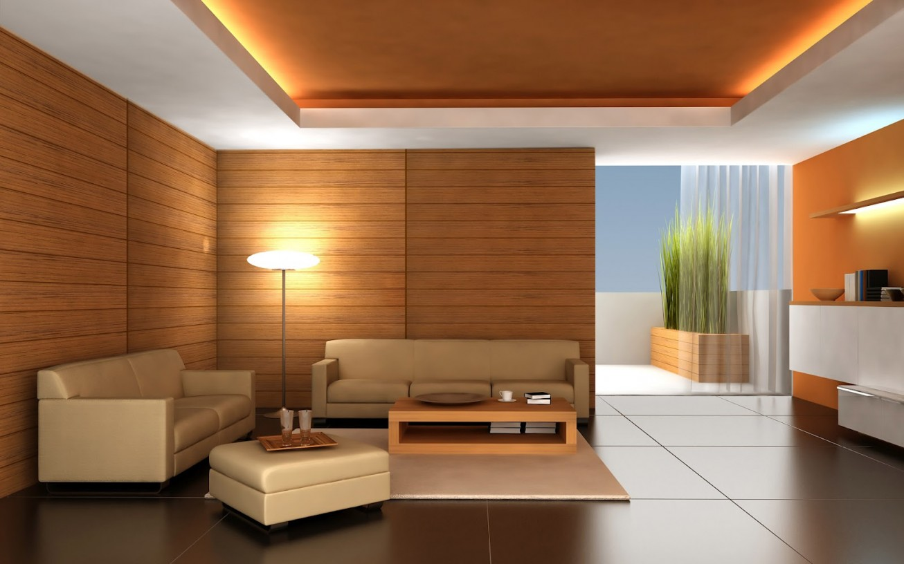Natural Touch for Contemporary Living Room with Unpainted Wooden Paneling