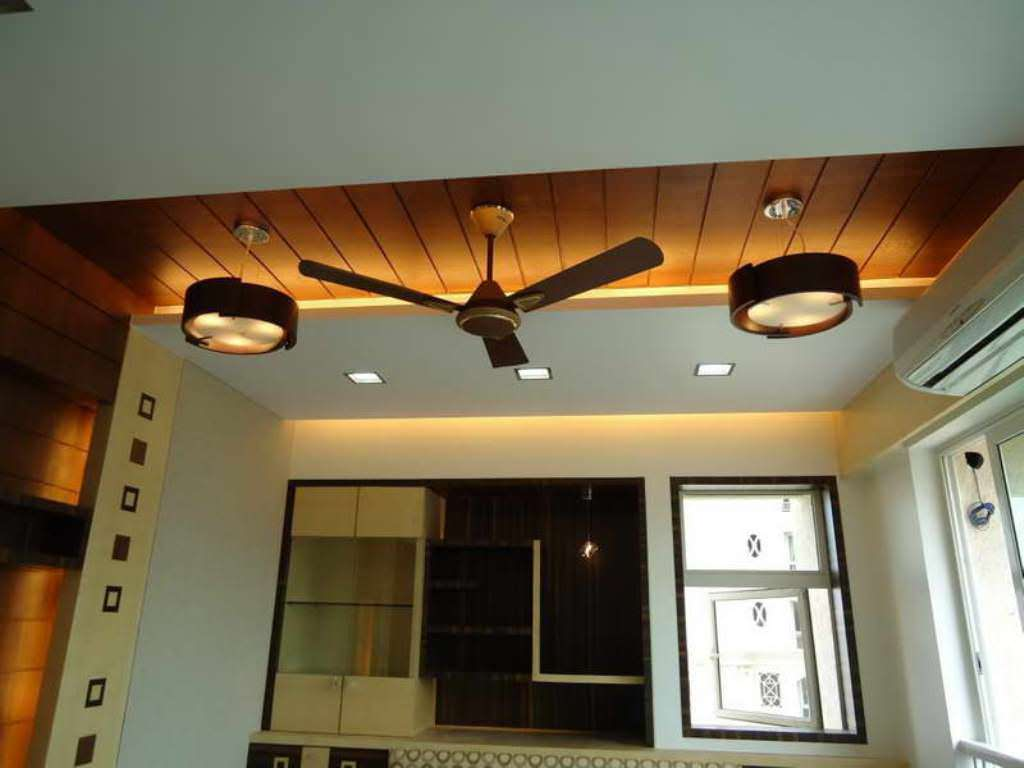 Natural Wooden Ceiling and LED Lighting Used in Contemporary Room with Dark Modern Ceiling Fans