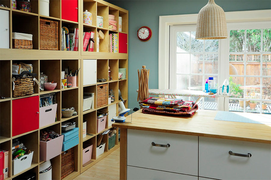 Merveilleux Neat Craft Room Idea With Double Function As Iron Room Completed With  Freestanding Shelves