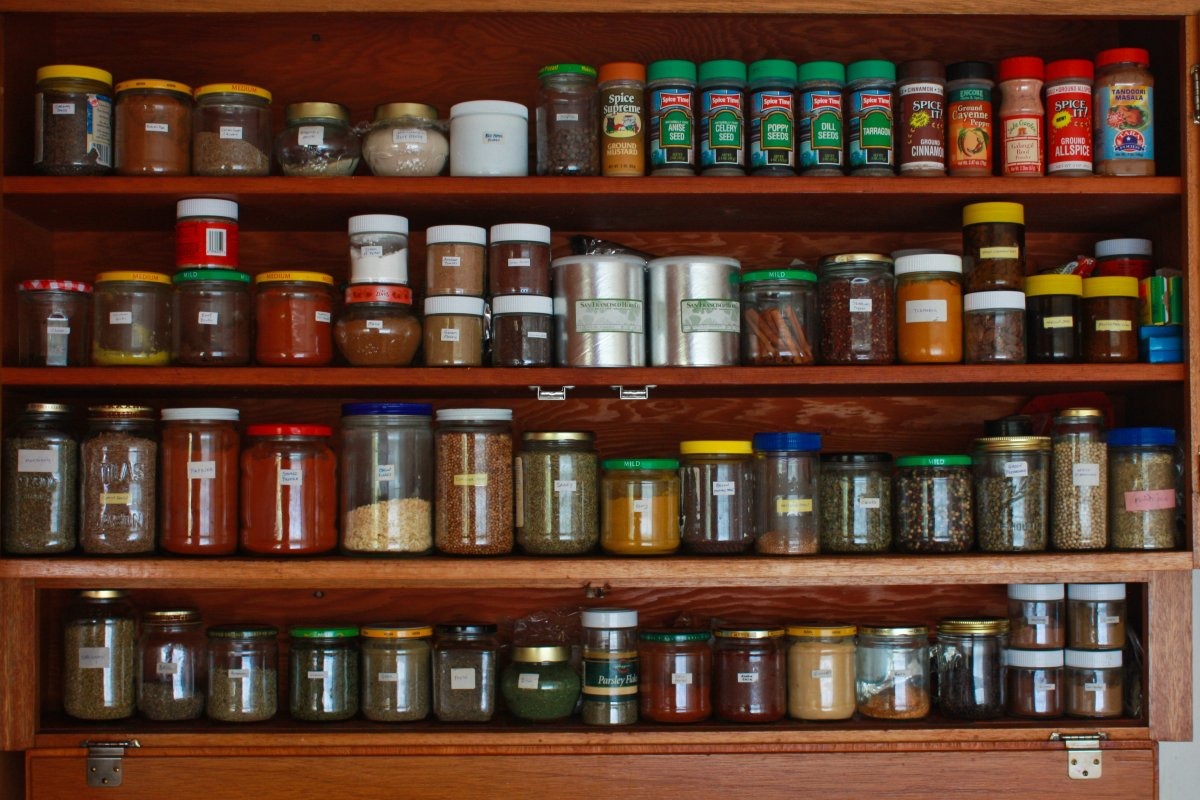Neat Spices Arranged in an Open Shelving Unit Made from Wood